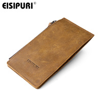 EISIPURI Top Grain Cow Leather Men's Wallet New Designer Male Crad Holders Long Zipper Wallet Men Fashion Coin Purese 2018