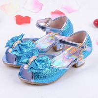 Bambini sandali di cuoio degli alti talloni delle ragazze della principessa di modo di estate elsa scarpe chaussure enfants fille sandalias nina