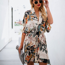 High quality comfortable v-neck mini dress with loose belt and elegant womens print idyllic style summer Fashion Sweet New