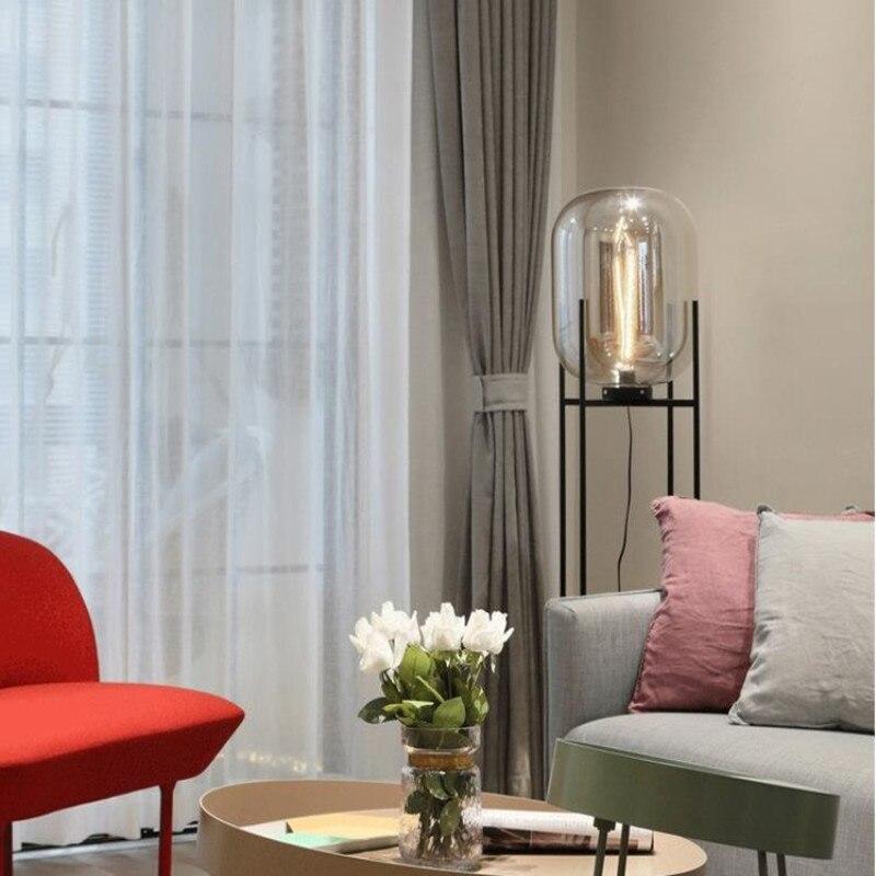 Américain rétro debout verre en fer forgé boule de Melon lampadaire LED verre décoratif plancher célèbre pour chambre chevet bureau