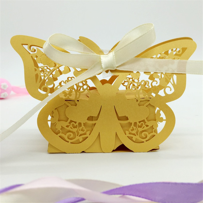 Butterfly Laser Cut Lover Heart Wedding Invitations Candy Boxes ...