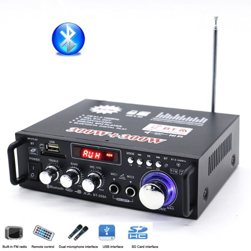 DC12 / AC 220V Mini 2 Channel Power Bluetooth 300W Amplifier SD Card Player FM Electronic Hifi Stereo Audio Amplifiers