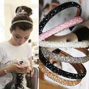 Women Girls Bling Artficial Stone Headband Hair Band Headwear Chain Jewelry