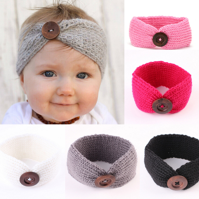 Knitted Crochet Hairband Hairwrap Turban Headband Button Pattern For