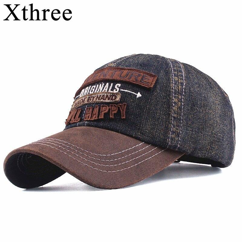 Xthree de los nuevos hombres de denim gorras de béisbol para los hombres  streetwear mujeres papá fb9140d2d2e