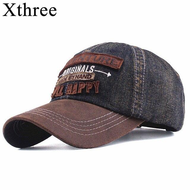 Xthree de los nuevos hombres de denim gorras de béisbol para los hombres  streetwear mujeres papá sombrero del snapback bordado casual tapa gorra hip  hop 660fbb0b4ce