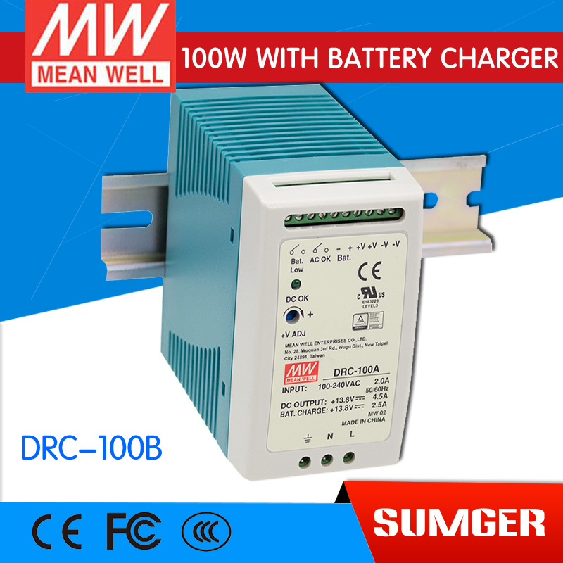 [Sumger2] MEAN WELL original DRC-100B 27.6V meanwell DRC-100 96.6W Single Output with Battery Charger (UPS Function) импульсный блок питания mean well 100 100w 12v drc 100a