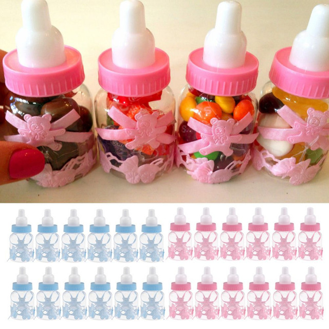 12Pcs/Lot Baby Shower Baptism Christening Birthday Gift Party Favors Candy Box Bottle