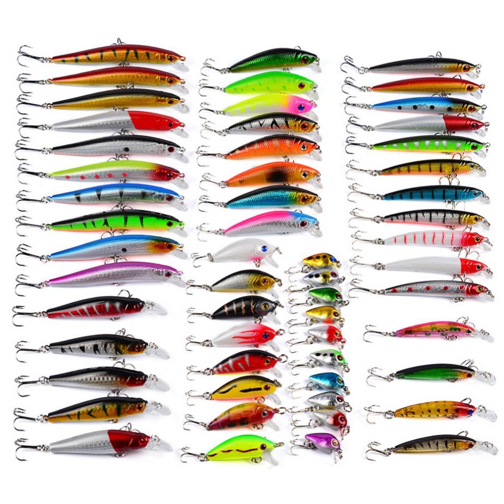 56 pièces/ensemble 8 modèles de leurre de pêche dur mixte Set d'appâts artificiels à manivelle