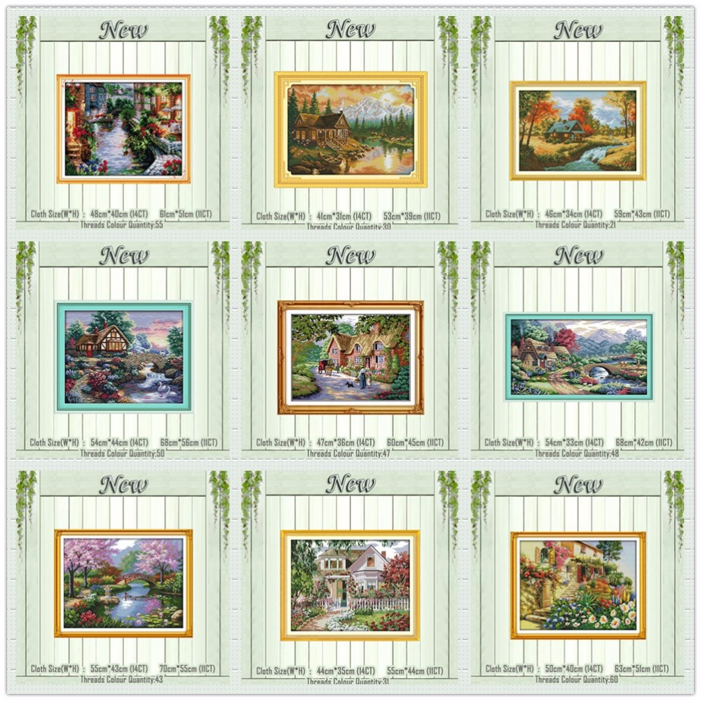 Leisurely Cabin House Scenery Painting Counted Print On The Canvas DMC 11CT 14CT Kits NKF Cross Stitch Embroidery Needlework Set