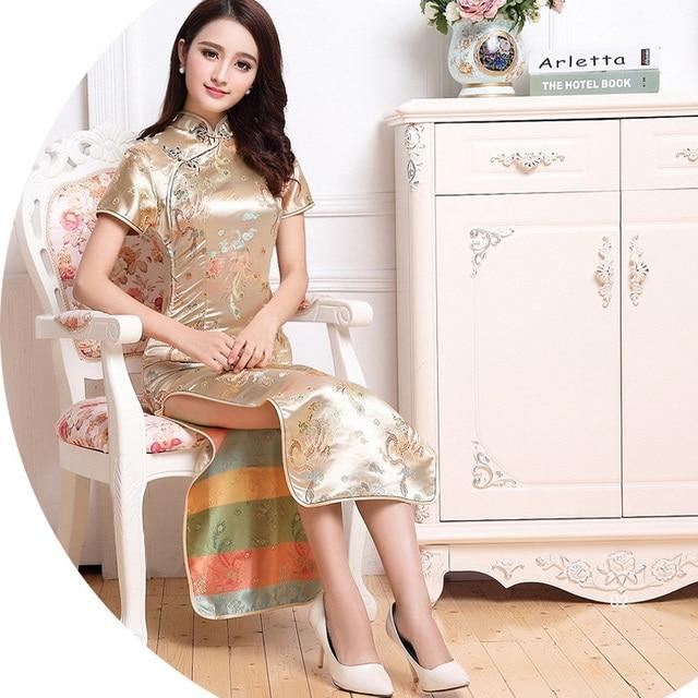 Gold Chinese Traditional Bridesmaid Dress Women S Silk Satin Cheongsam Qipao Summer Short Sleeve Long M L