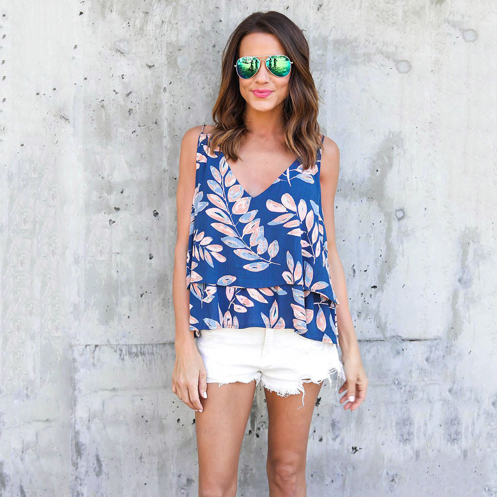 2018 New Summer Spring Womens Halter T-Shirt Ladies Casual Trend Strapless Sleeveless V Neck Print Leaves Camisole Top T-Shirt