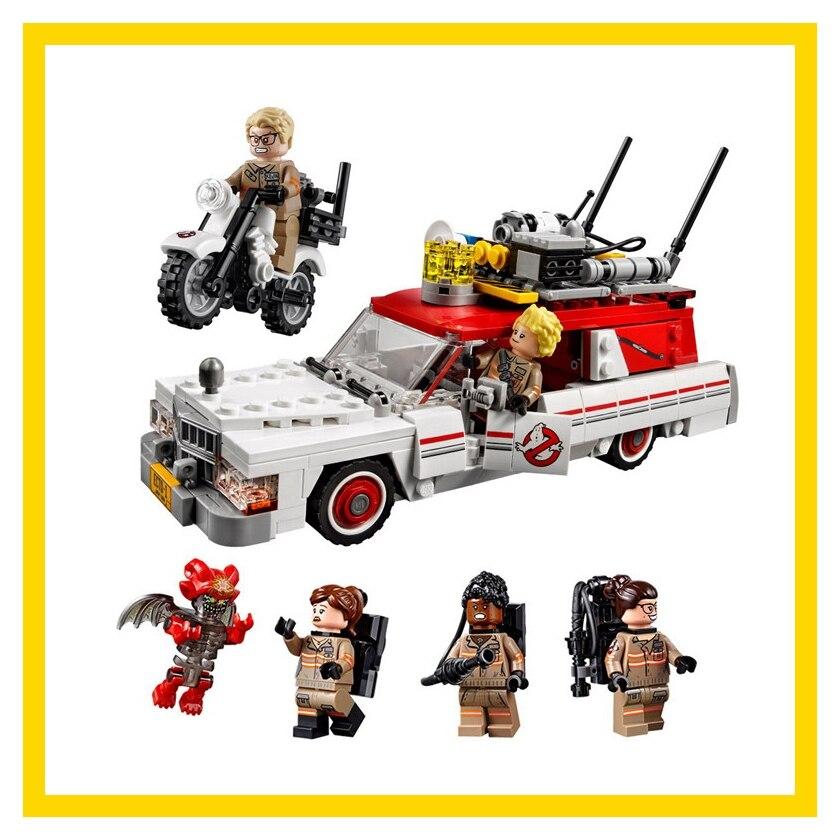 16032 586Pcs New Genuine Movie Series The Ghostbusters Ecto-1&2 Set Building Blocks Bricks Toys 75828 LegoINGys