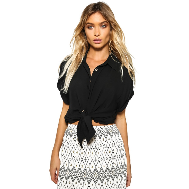 2017 european Women Button Down Cotton Shirt Casual Short Sleeve V Neck Tops Black Blusa