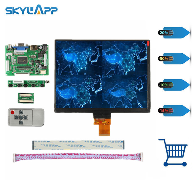 Skylarpu 8''inch HE080IA-01D 1024*768 IPS high-definition LCD Display screen HDMI/VGA/AV Control Driver Board For Raspberry Pi