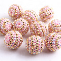 12mm/16mm/10mm to 26mm ming pink/gold strip Color Whoelesales Chunky Resin Rhinestone Beads Ball for Kids Necklace Jewelry