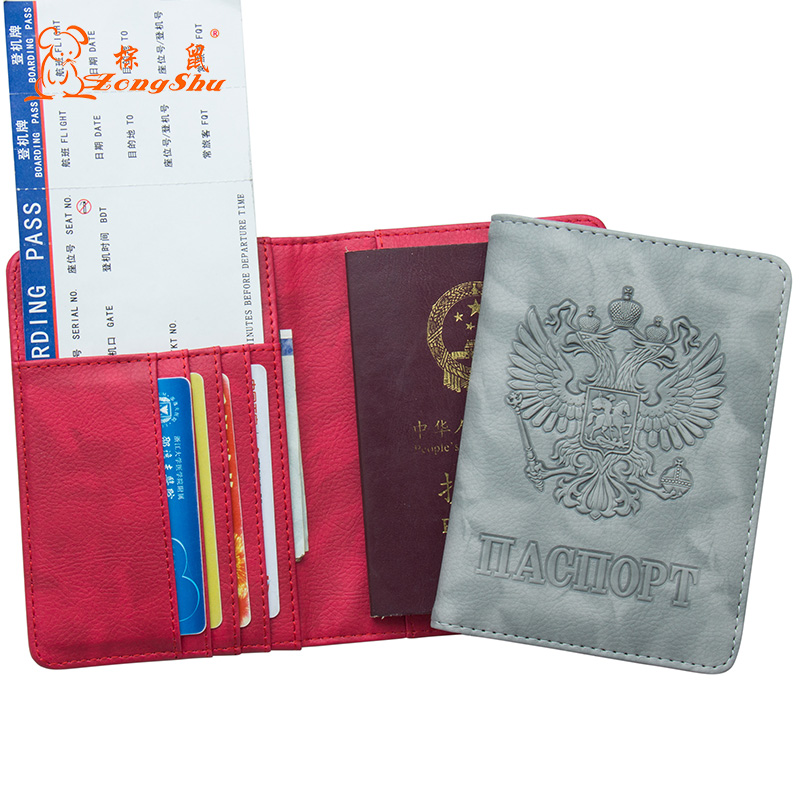 Cheap Price Russian Oil Gray Double-headed Eagle Convenient Pu Leather Passport Holder Built In Rfid Blocking Protect Personal Information Card & Id Holders