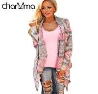 VESTLINDA Fashion Collarless Kimono Cardigan Long Sleeve Poncho Pink Grey Sweaters Tribal Print Asymmetrical Cardigan Women