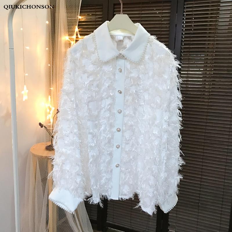 Shining Tassel Black White Shirts Womens Spring Autumn Preppy Style Beading Peter pan Collar Lantern Sleeve Chiffon Blouse Tops