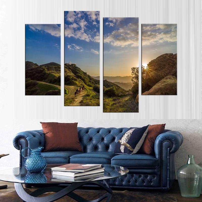 4 mūsdienu saulrieta akmens klinšu ainavu gleznojums dekoratīvā - Mājas dekors - Foto 2