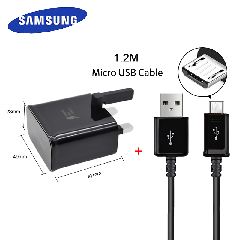 100% Samsung Genuine Travel Charger Adaptive Fast Charge UK Plug With 1.2m Micro USB Cable for Galaxy S7 S7+ S6 S6+ Car Charger