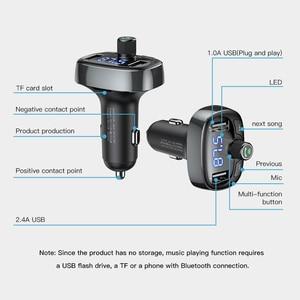 Image 5 - Baseus Lcd scherm Fm zender Autolader Dual Usb Telefoon Oplader Handsfree Bluetooth MP3 Speler, geboren Te Luisteren Muziek In Auto