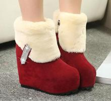 New Nice Fashion women s Boots Wedge High Heels Sexy Ankle Boots Platform Warm Plush Ladies