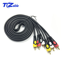 цена на 3RCA to 3 RCA Audio Cable Gold Plated Male to Male AV Cable Video Cable for DVD TV VCD Black 1.8M 3Meter 5M 10M 15M 20M 30M