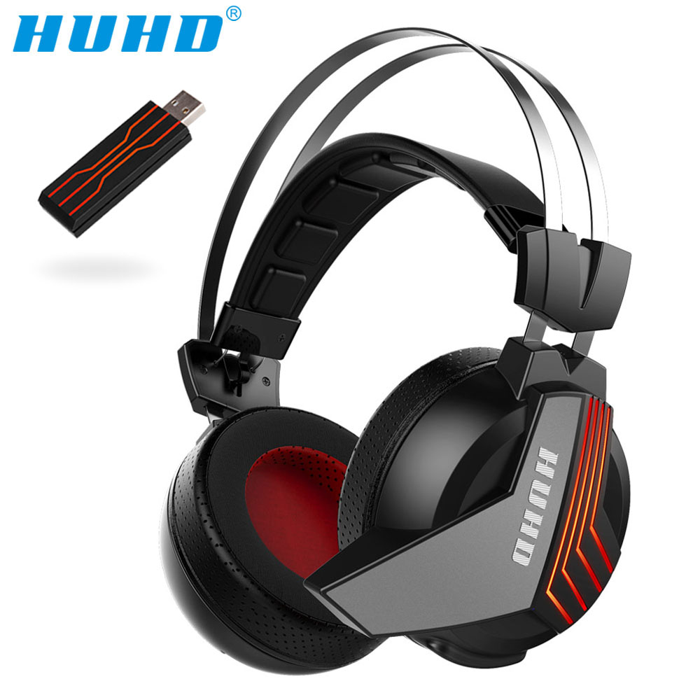 High tech Wireless 7 1 Surround Sound USB Stereo Gaming Headset Over Ear Noise Isolating LED