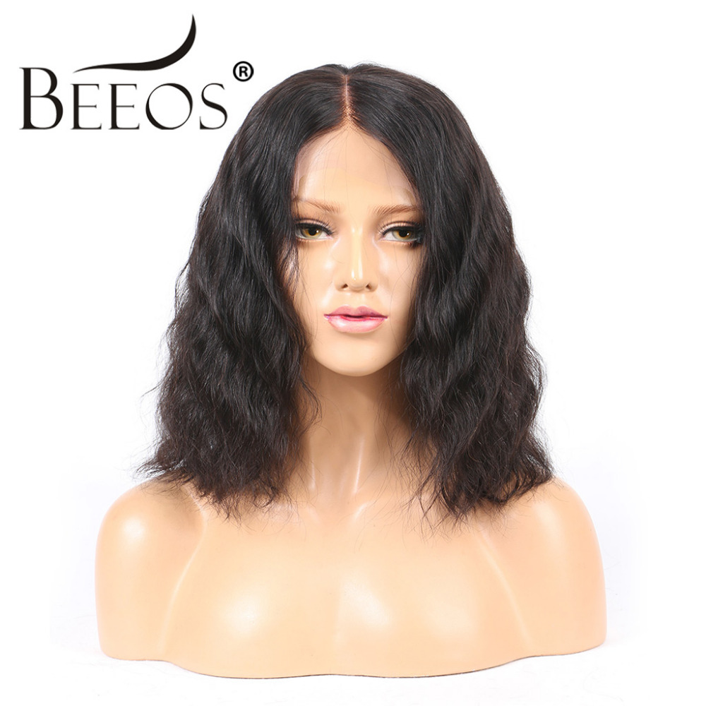 Beeos 13*6 Natural Hairline Wavy Lace Front Human Hair Wigs With Baby Hair Bleached Knot Peruvian Remy Hair Deep Parting