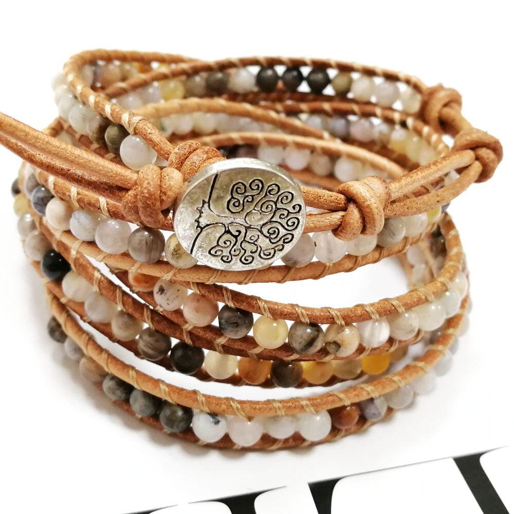 Yuteng 5 rangées pierre naturelle fait à la main en cuir Bracelet en cuir véritable 4mm océan Agates manchette Bracelet unisexe LL8224