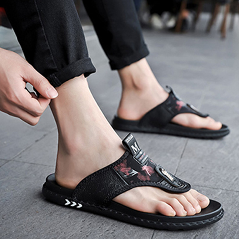 Cow Leather Mens Sandals Flip Flops 2019 Summer Men Beach Sandals Male Casual Shoes Fashion Slippers Brand Black Sandals KA1292