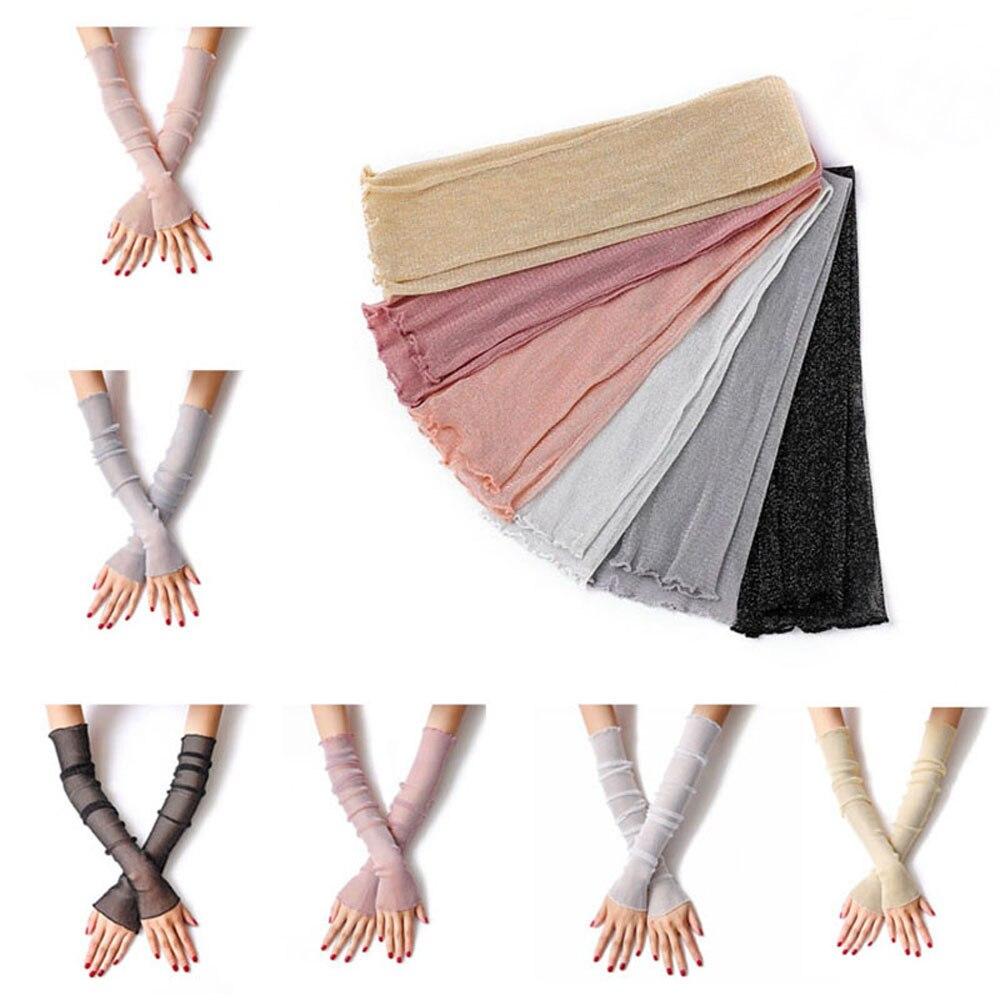 Anti-UV Long Arm Summer Women Mittens Fingerless Sunscreen Gloves Leg Socks