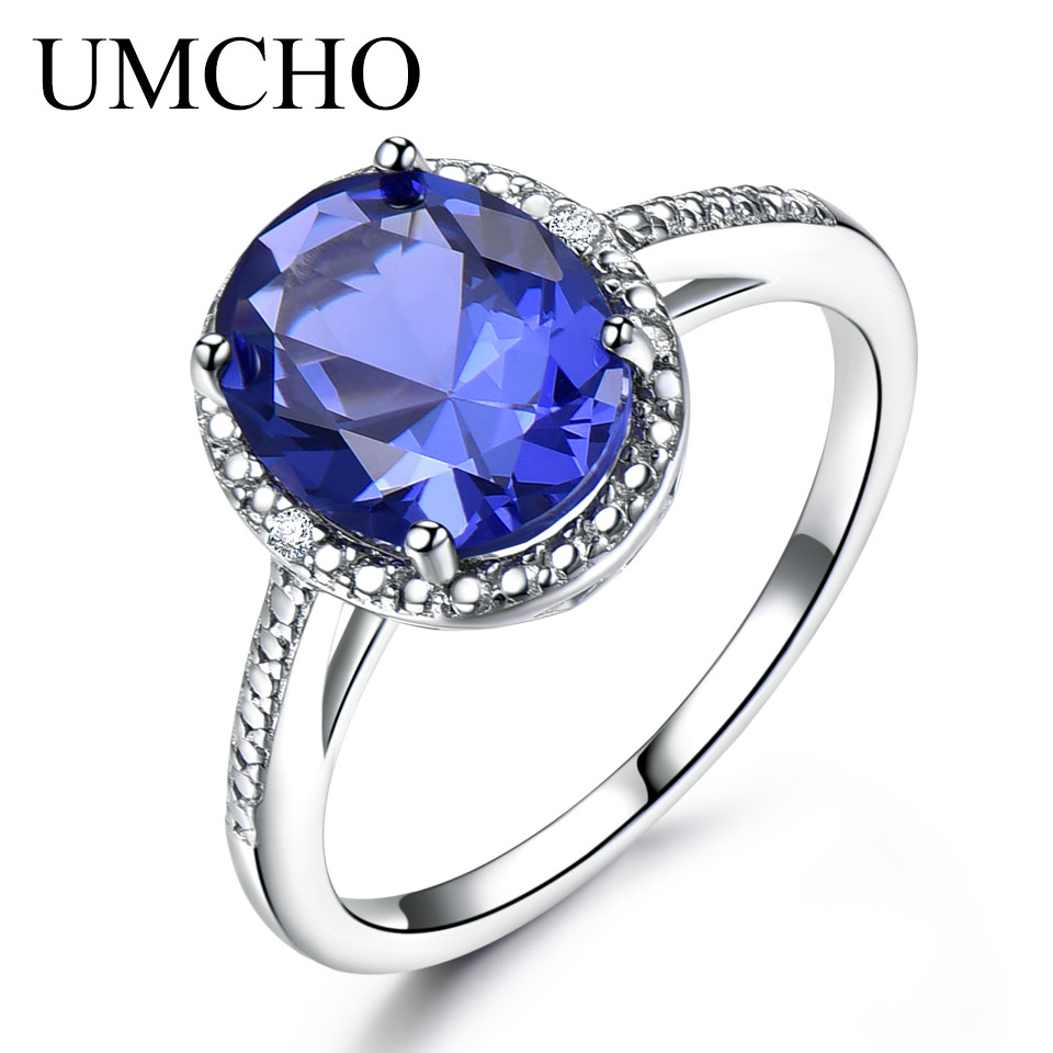 UMCHO Luxury Tanzanite Rings For Women Solid 925 Sterling Silver Gemstone Engagement Ring Sets Christmas Jewelry Gift With Box umcho luxury tanzanite rings for women solid 925 sterling silver gemstone engagement ring sets christmas jewelry gift with box