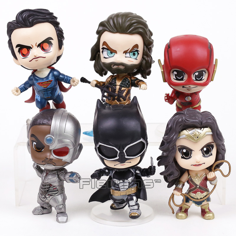 Justice League Superman Batman Wonder Woman The Flash Aquaman Cyborg PVC Figures Toys 6p ...