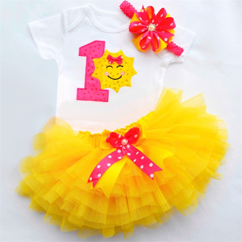 купить baby girl clothes dress brand baby 1st birthday dress party 1 year photo girl clothing set romper+headband+tutu skirt 3pcs bebes по цене 505.04 рублей