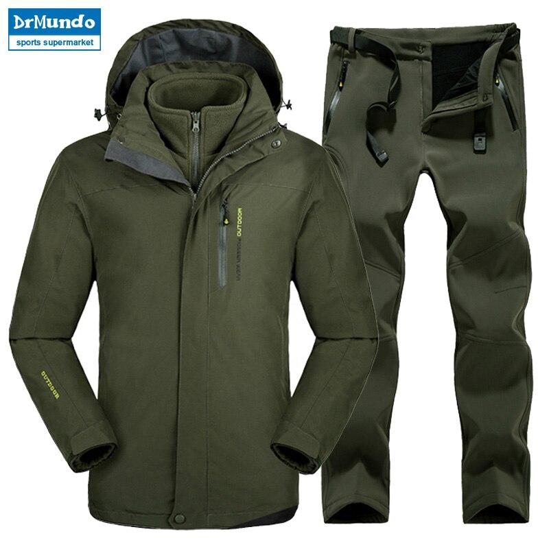 Plus Size Men Skiing Ski wear Waterproof Hiking Outdoor jacket Snowboard jacket Ski suit men Large