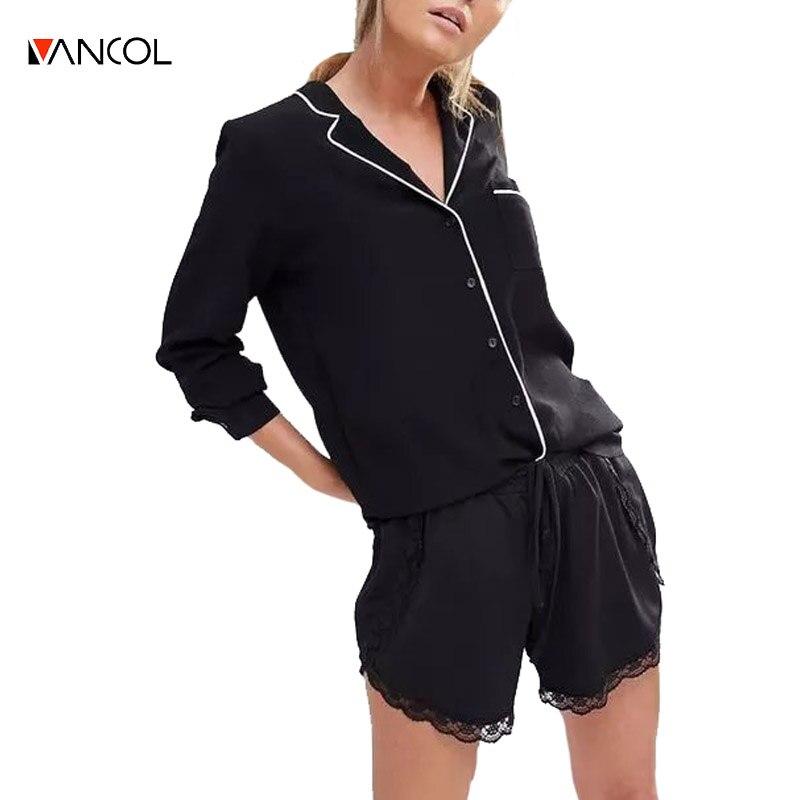 Vancol Pijamas de algodón estilo de la camisa de la blusa de mujer de manga Larg