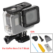 цена на For gopro hero 5/6/7 Blcak waterproof Case 60 meters deep dive protective shell go pro accessories touch screen Housing W/Filter