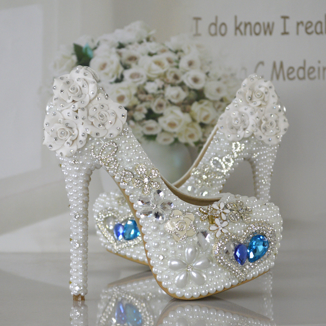 White Pearl Blue Gem Heels Wedding Photography Mitzvah Shoes Banquet Performances