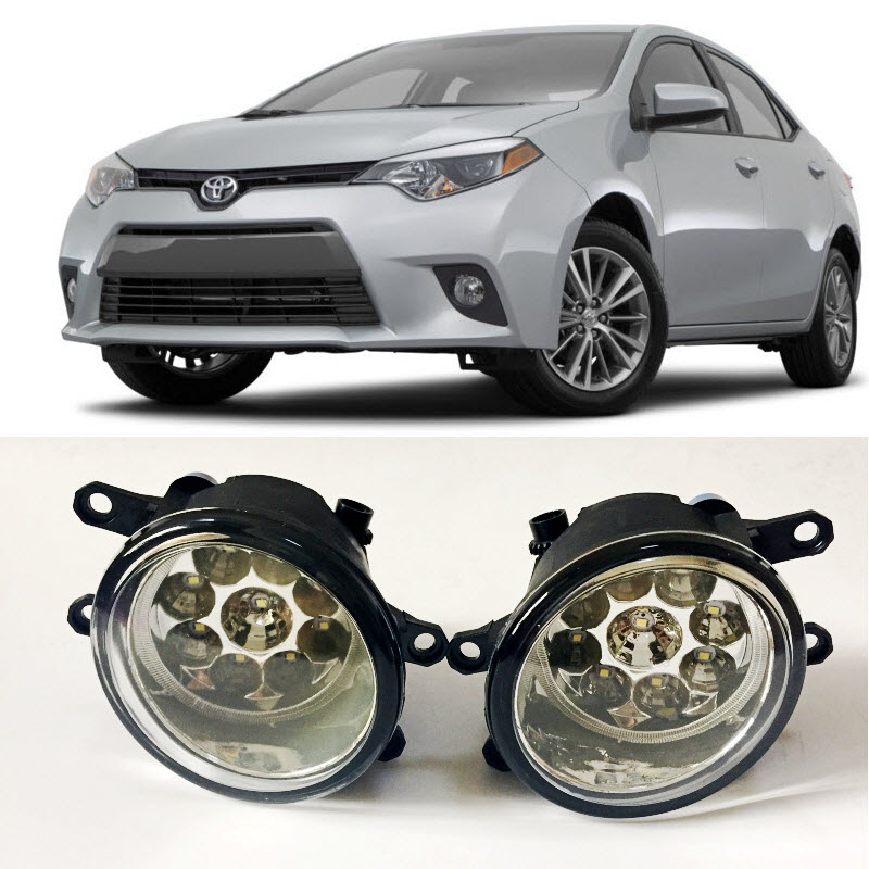 Car-Styling For Toyota Corolla 2014 2015 2016 North America 9-Pieces Leds Fog Lights H11 H8 12V 55W Halogen LED Fog Head Lamp fog light set 12v 55w car fog lights lamp for toyota hiace 2014 on clear lens wiring kit free shipping