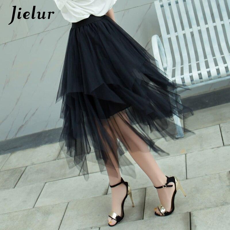 Jielur Autumn Fashion Chiffon Women's Skirt Mesh Solid Color Bouffant Puffy Skirts Irregular Sexy Saia Pleated Black Jupe Longue