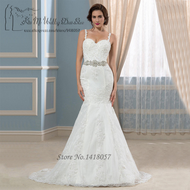 Vestido De Noiva Sereia 2016 Design White Mermaid Wedding Dresses Lace Straps Custom Made Bridal
