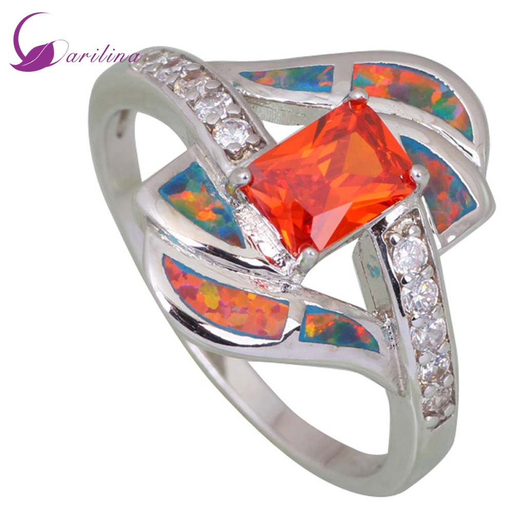 Fashion Rings for women Red Cubic Zirconia Garnet Opal 925 Sterling Silver Overlay jewelry size 5 6 7 8 8.5 9 R413