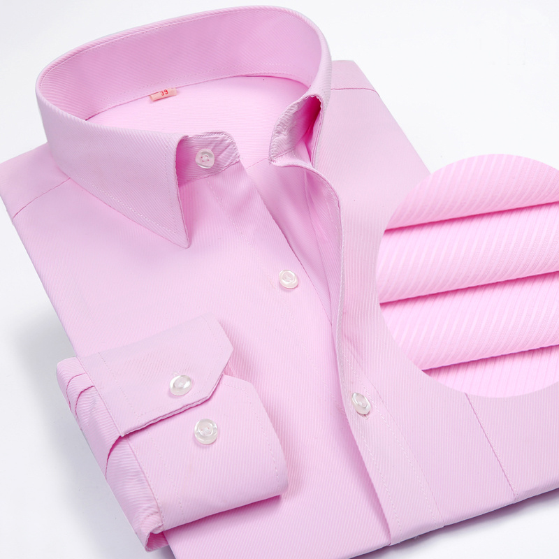 Solid Color Turn-Down Collar Formal Shirts 4
