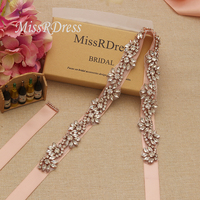 MissRDress 90cm Long Crystal Wedding Belt Sash Rose Gold Diamond Bridal Belt Rhinestones Bridal Sash For Wedding Dresses JK816
