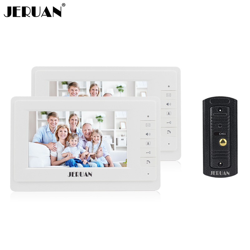JERUAN 7 inch video door phone intercom system doorphone metal shell outdoor video doorbell rain cover free shipping jeruan new doorbell intercom doorphone wireless video door phone with memory image station outdoor night vision function
