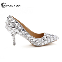 Women Pumps Shoes Pointed Toe Thin Heels Crystal Shoes Wedding Shoes Bridal Shoes rhinestone handmade female high heeled