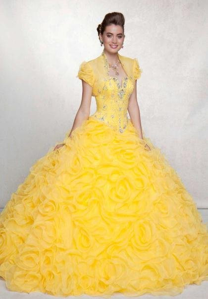 Yellow Ball Dresses with Sleeves