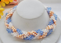 Wholesale Handwork Pearl Jewellery,6Rows 18inches Pink Baroque Pearls Blue Clean Crystal Faceted Knit Necklace